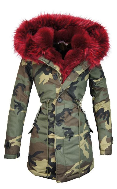 Camouflage jas met bontkraag