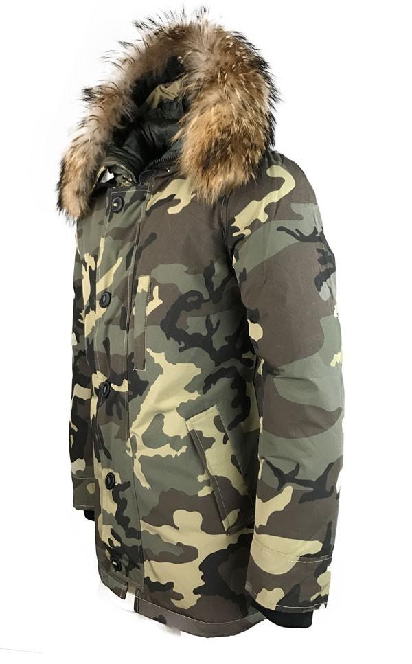 Groene Winterjas Heren.Leather Palace Camouflage Winterjas Heren