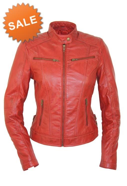 Rode Leren Dames Jas.Leather Palace Rode Leren Jasje Dames