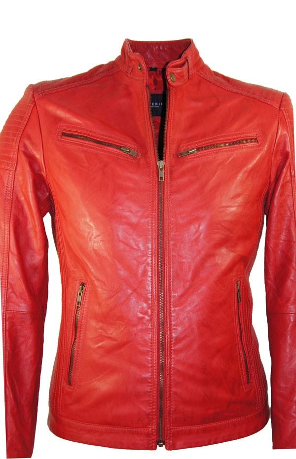 Rode Leren Dames Jas.Leather Palace Heren Leren Jas Rood