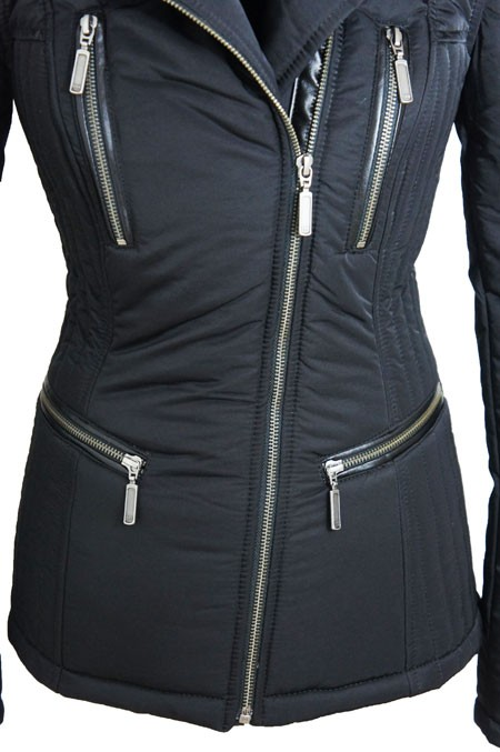 Dames Zwarte Winterjas.Leather Palace Bontjas Dames